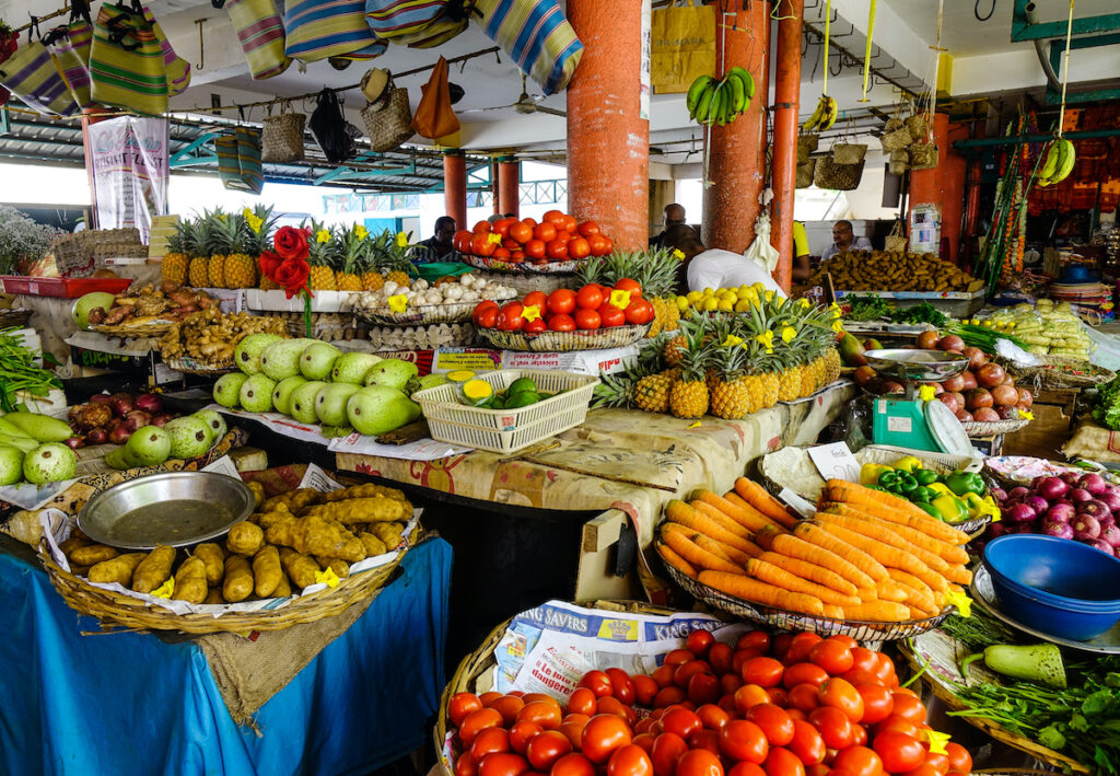 Fresh produce for sale at a market in Mahebourg, Mauritius.