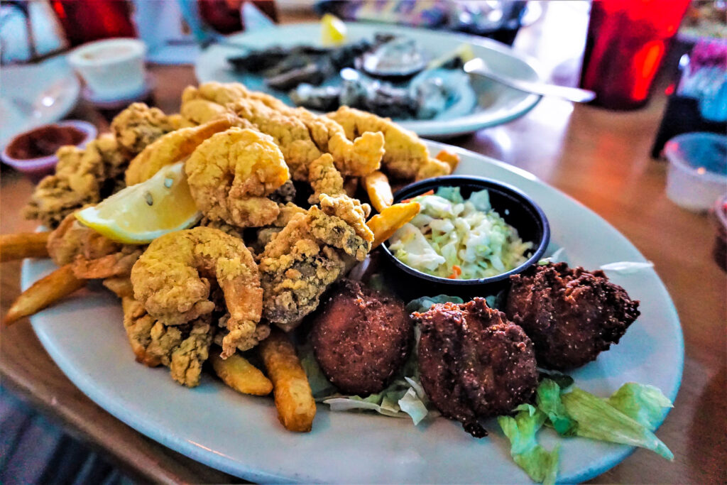 Fried seafood platter at Cuz's in Bay St. Louis, Mississippi.