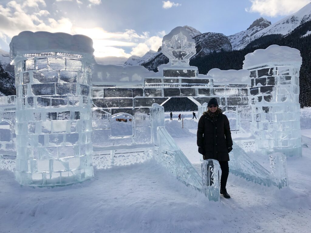 Frozen ice castle on Lake Louise.