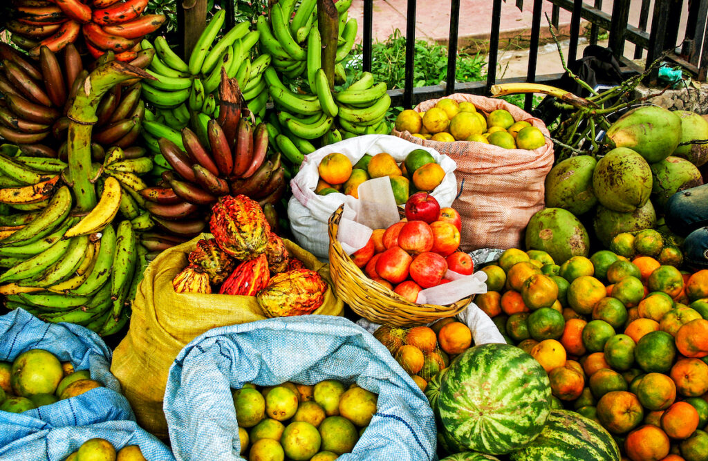Fruits at a market in South America.