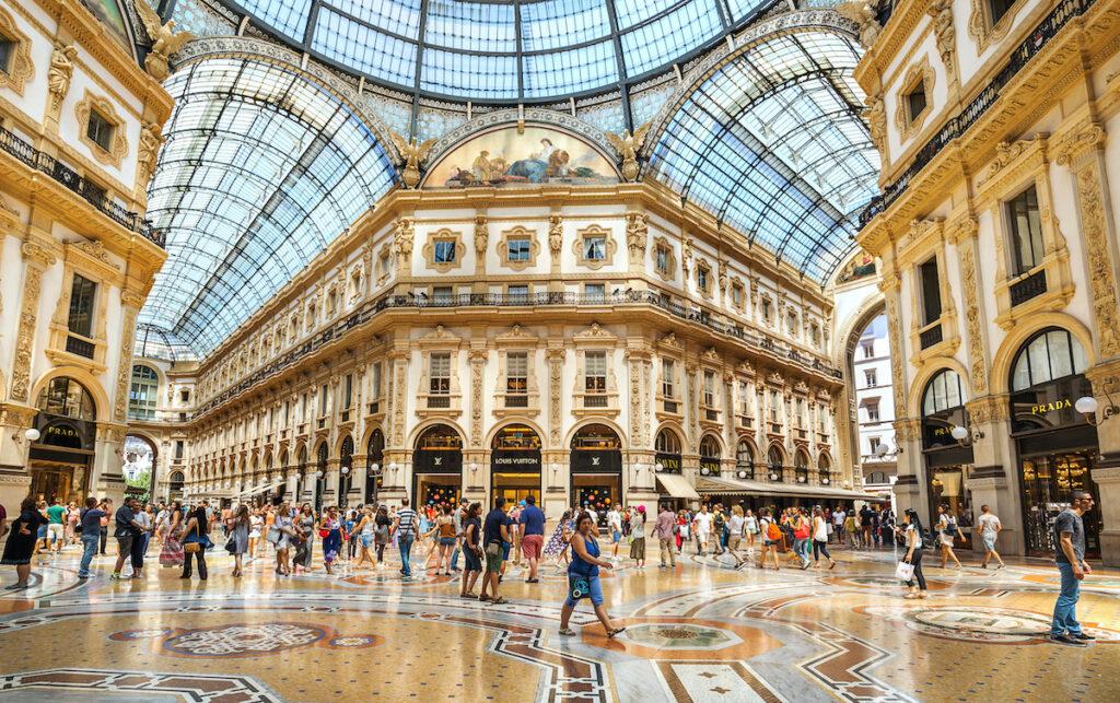 Galleria Emanuele, an indoor shopping arcade in Milan, Italy.