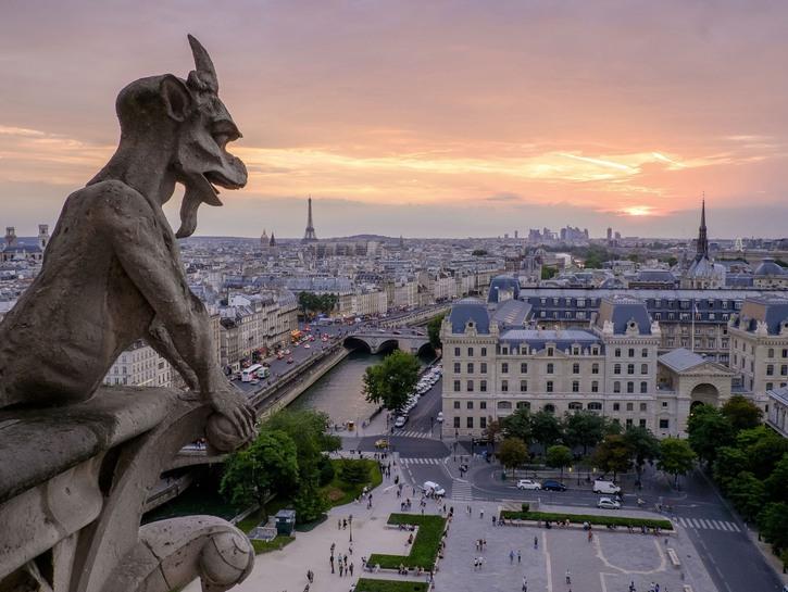 Gargoyle of Notre-Dame looks out over Paris