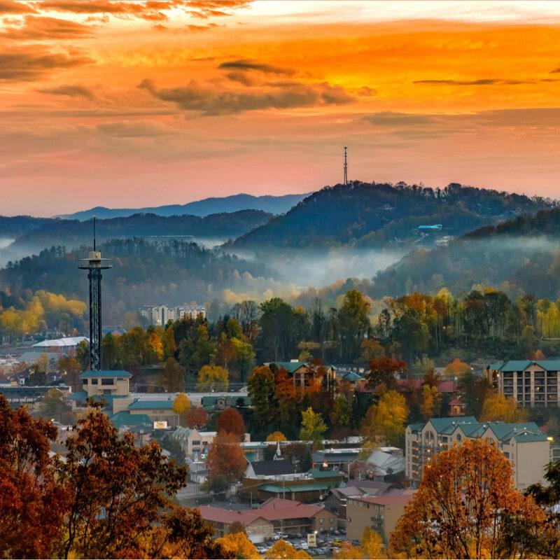 Gatlinburg, Tennessee, cityscape.