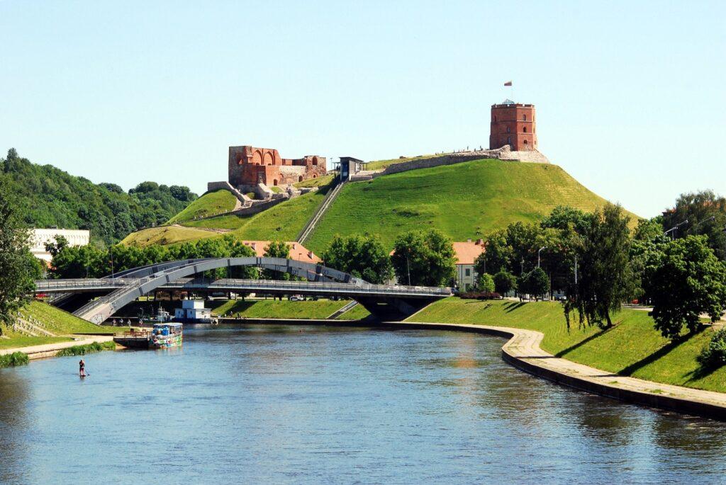 Gediminas Castle along the Neris River in Vilnius.