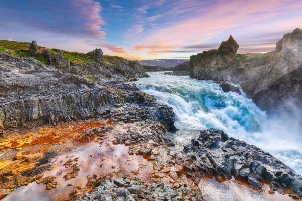 Geitafoss waterfall near Godafoss in Iceland.
