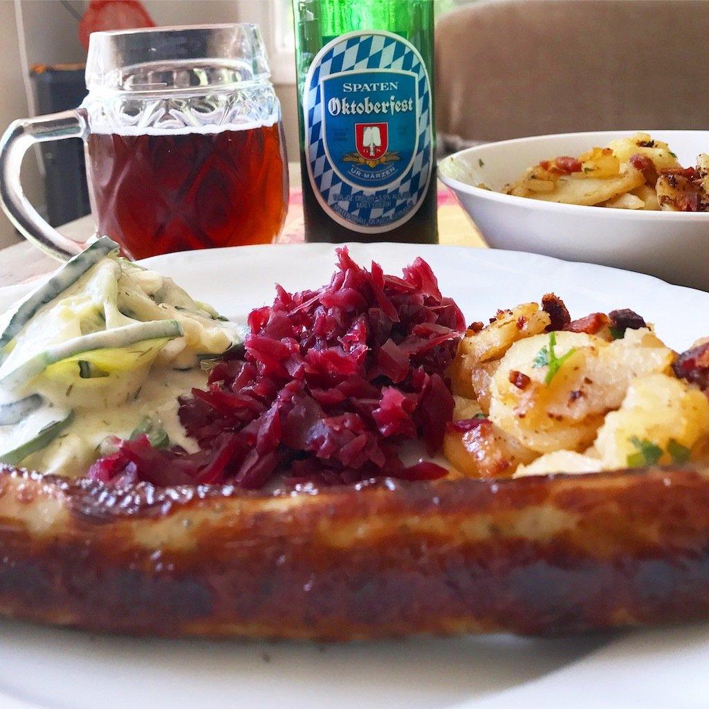 German bratwurst and beer for dinner.