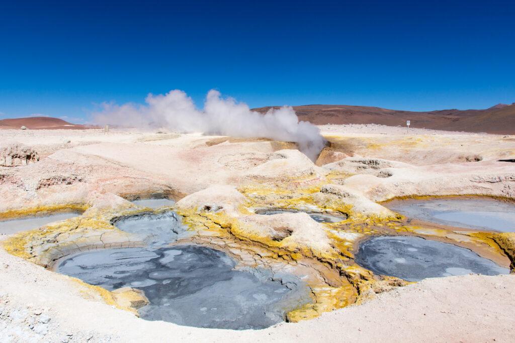 Geysers at Sol De Manana near the Uyuni Salt Flats in Bolivia.