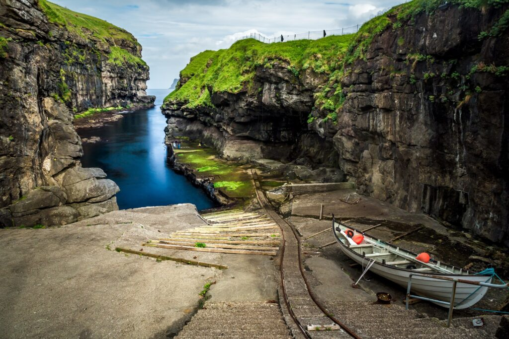 Gjógv gorge harbour in the Faroe Islands.