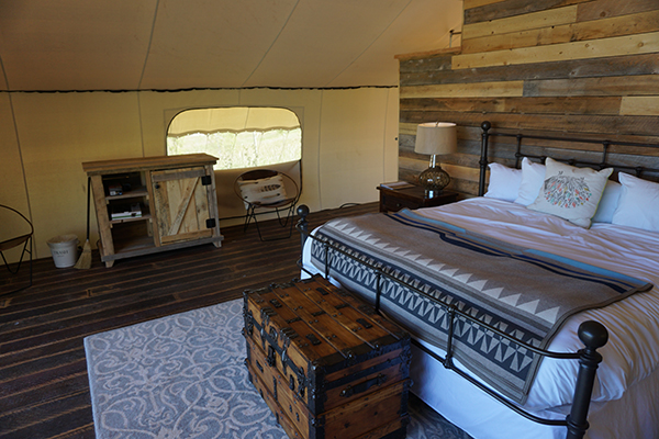 Glamping tent bedroom
