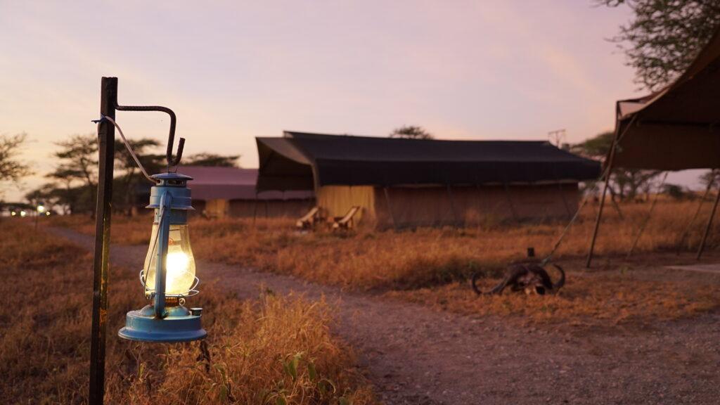 Glamping tents in Serengeti National Park.