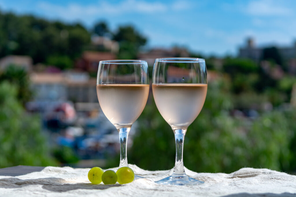Glasses of rose wine in Provence, France.