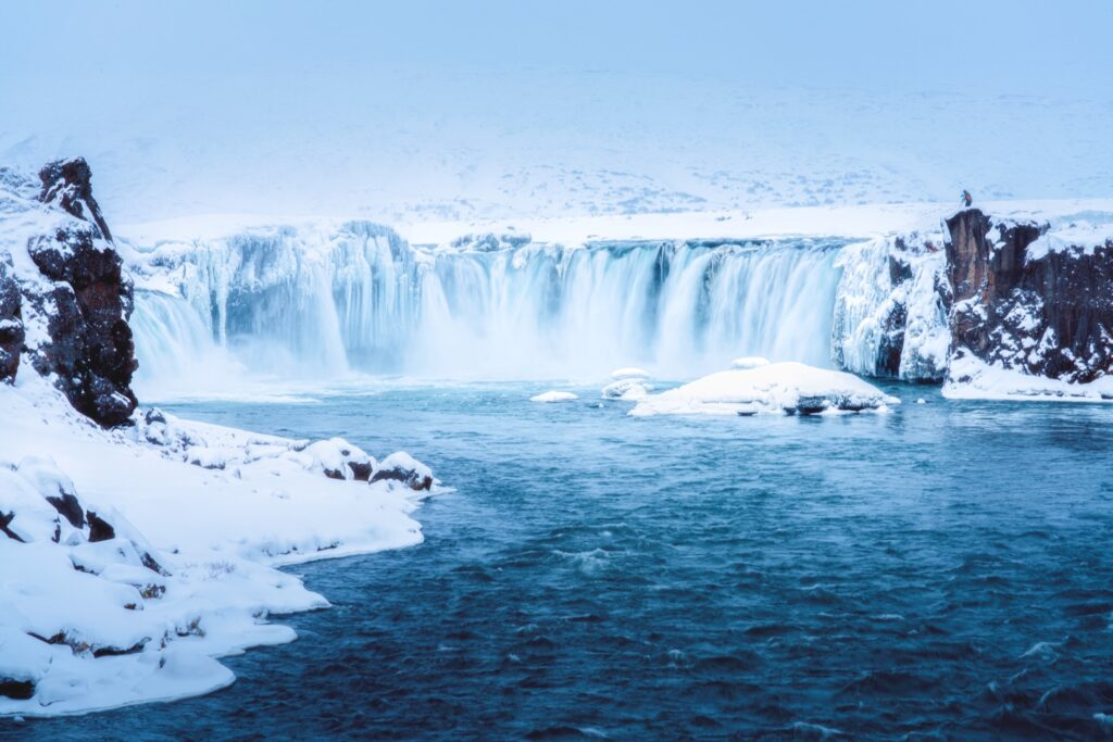 Godafoss waterfall in Iceland during the winter.