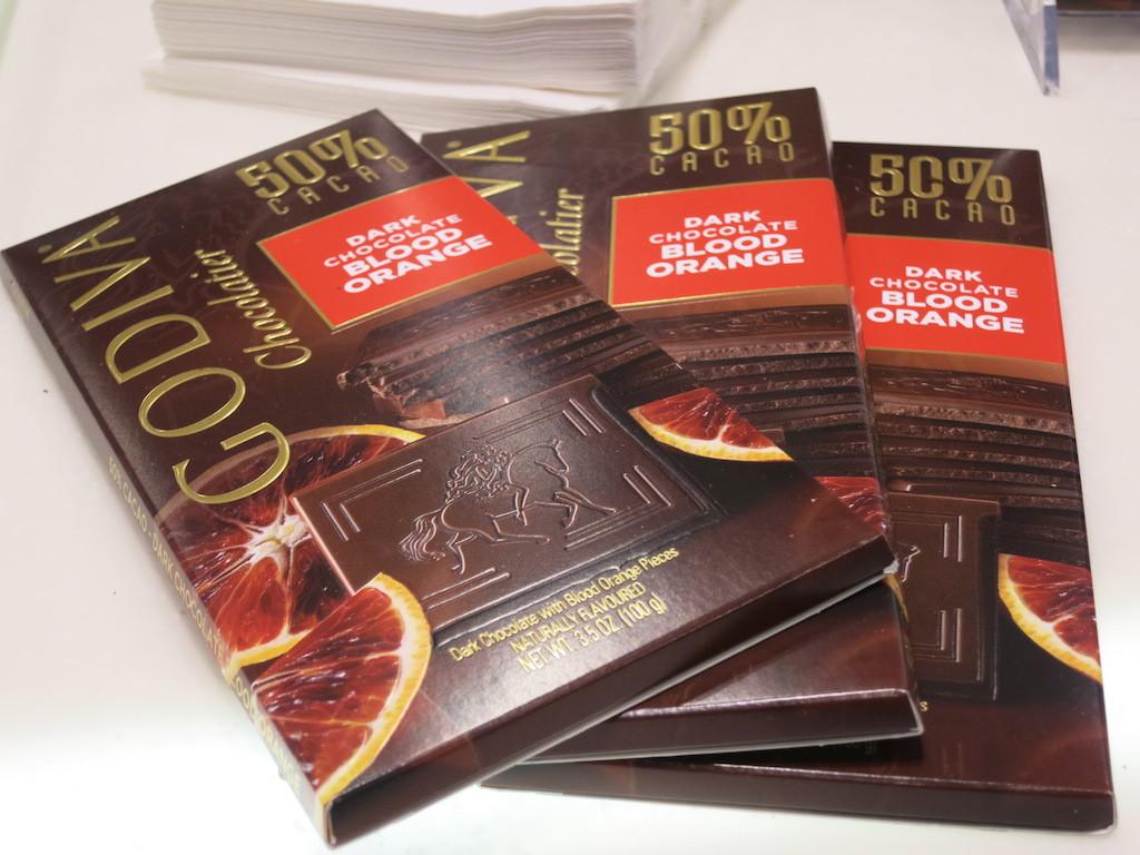 Godiva's blood orange dark chocolate.