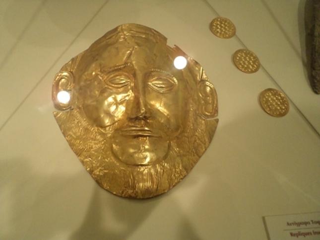 Gold mask of Agamemnon, Mycenae, Greece.