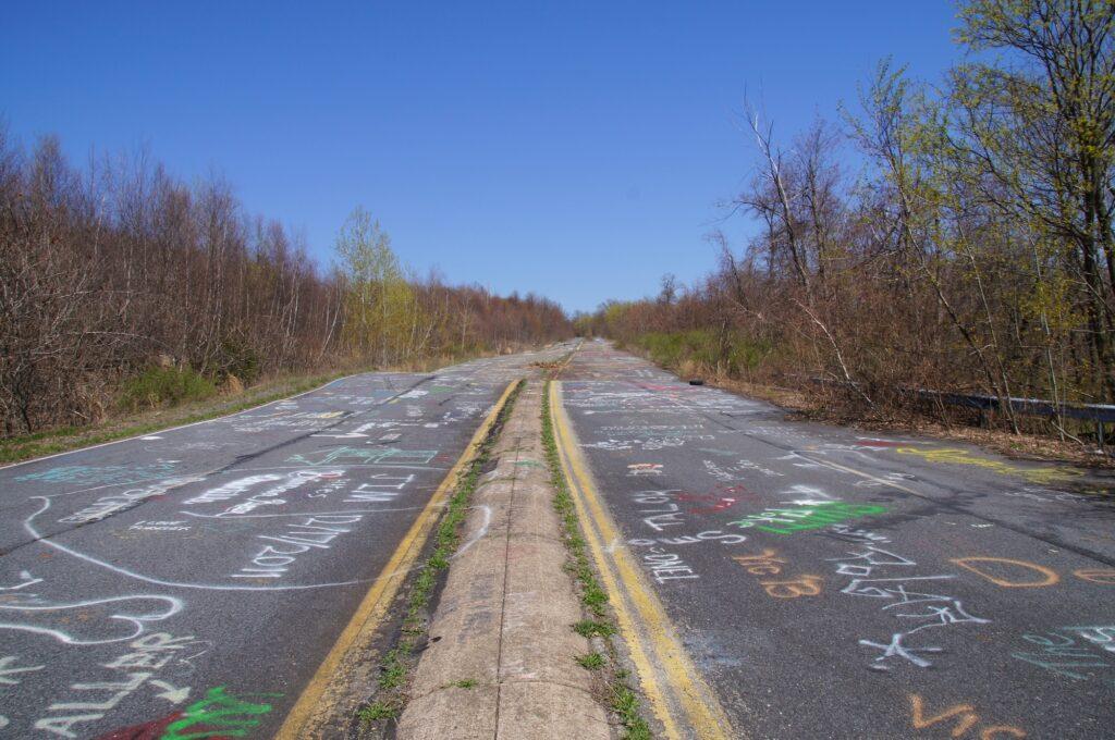 Graffiti on the abandoned road in Centralia, Pennsylvania.