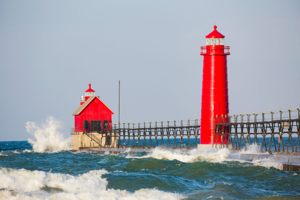Grand Haven South Pier Lighthouse in Grand Haven, Michigan.