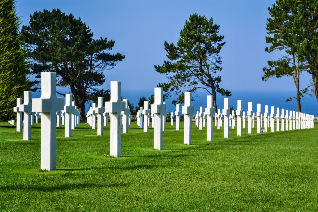 Graves at the D-Day cemetery.