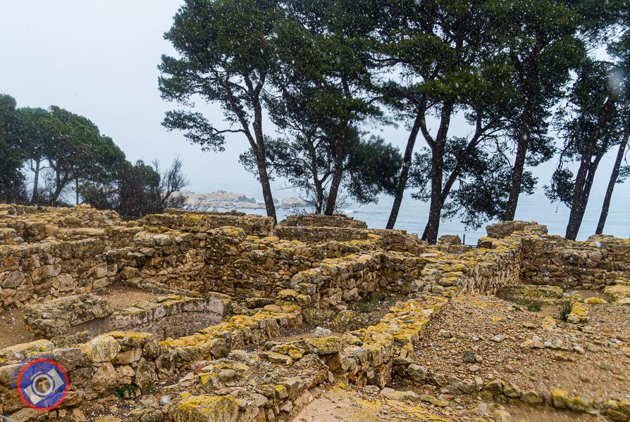 Greek ruins in proximity to the Mediterranean.