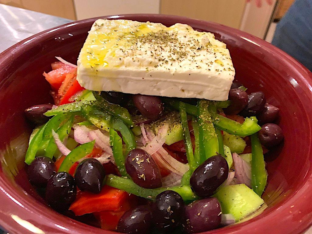 Greek salad in Athens, Greece.
