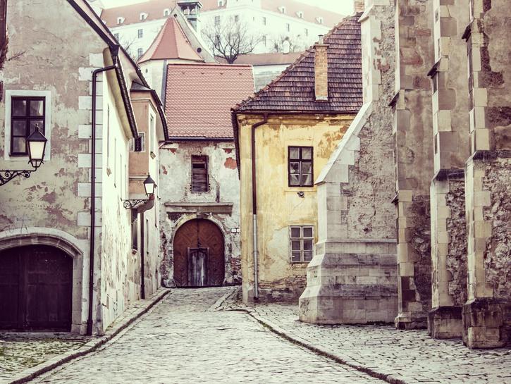Grey buildings in Bratislava's old town