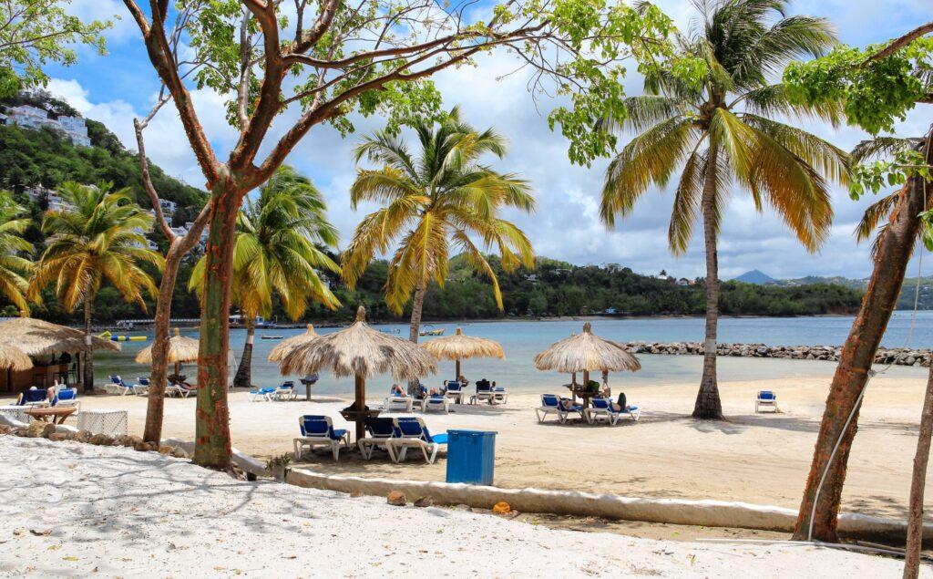 Gros Islet Beach in Saint Lucia.