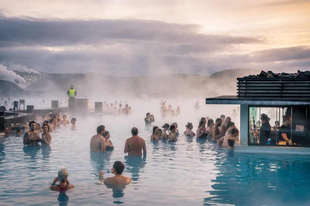 Guests at the Blue Lagoon enjoying a drink.