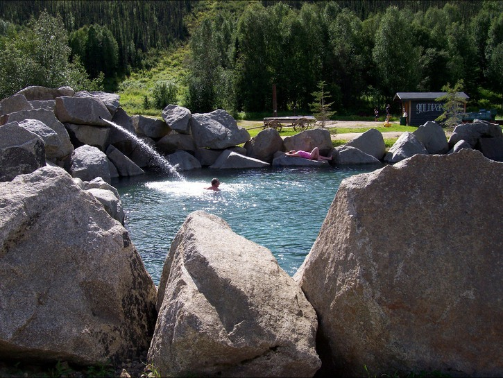 Guests soaking in Chena Hot springs, Alaska