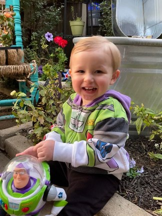 Hagen reunited with his Buzz Lightyear action figure.