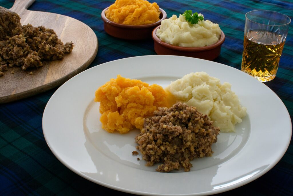 Haggis, parsnips, and potatoes in Scotland.