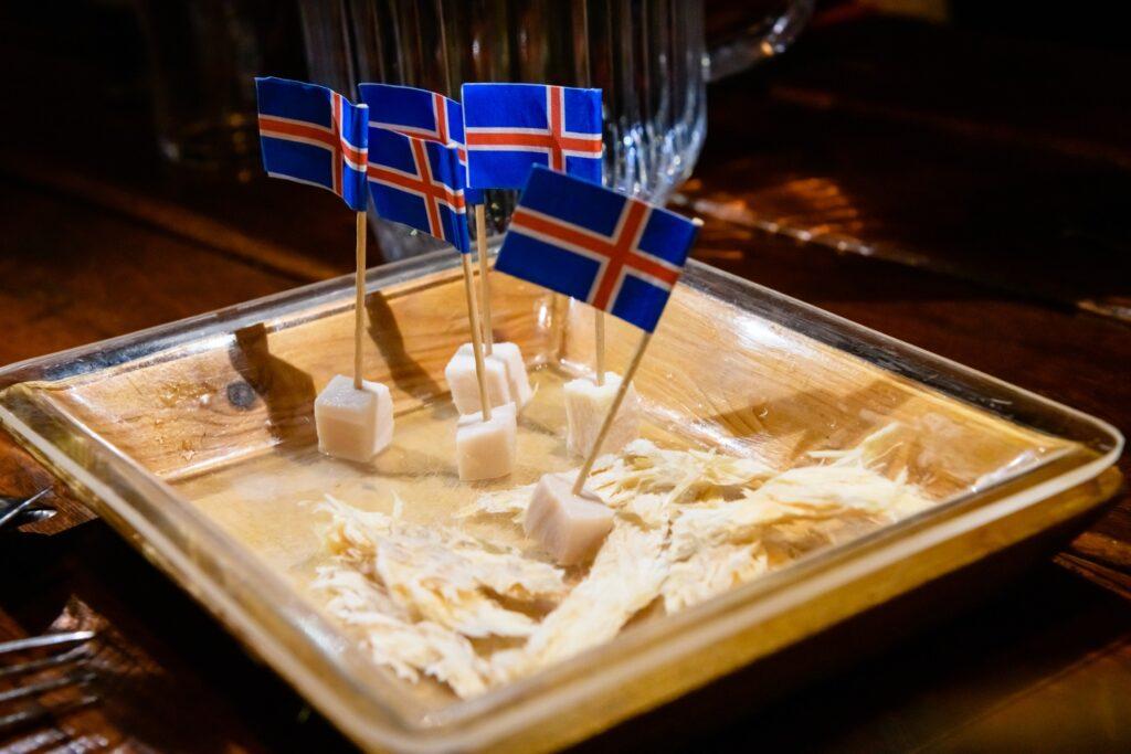 Hakrl, fermented shark from Iceland.