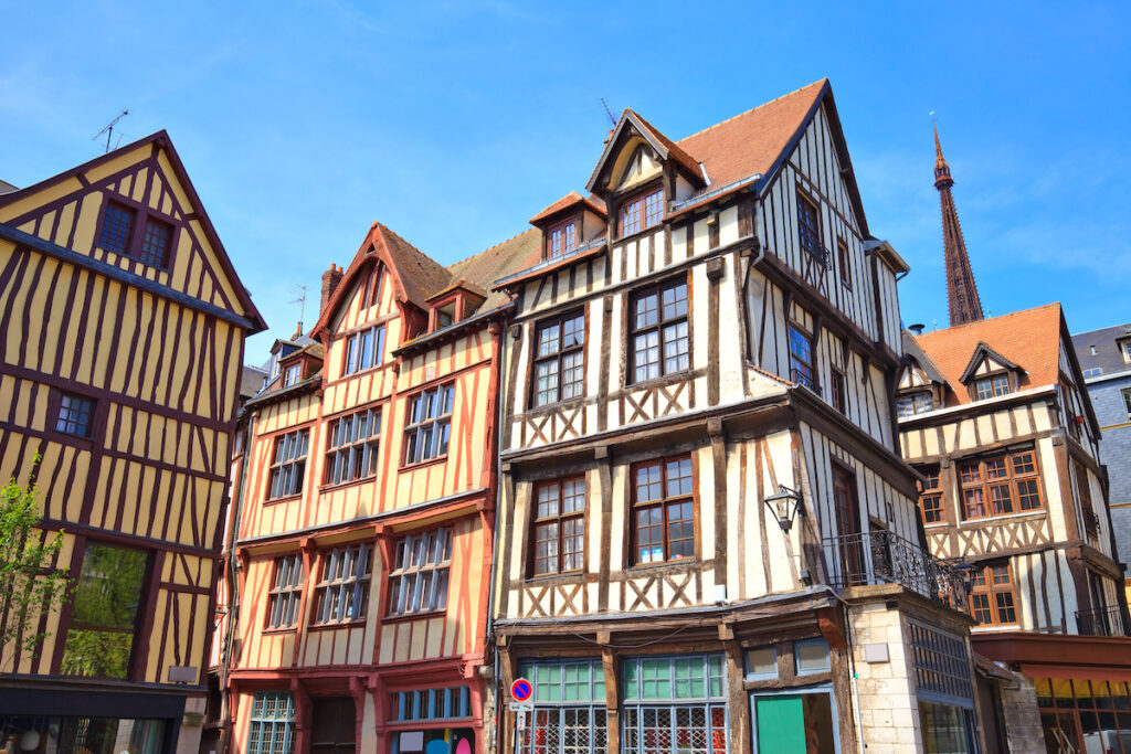 Half-timbered buildings in Rouen, France.