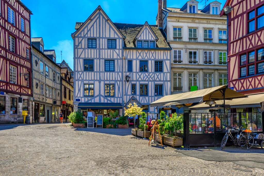 Half-timbered houses, Rouen, Normandy, France.