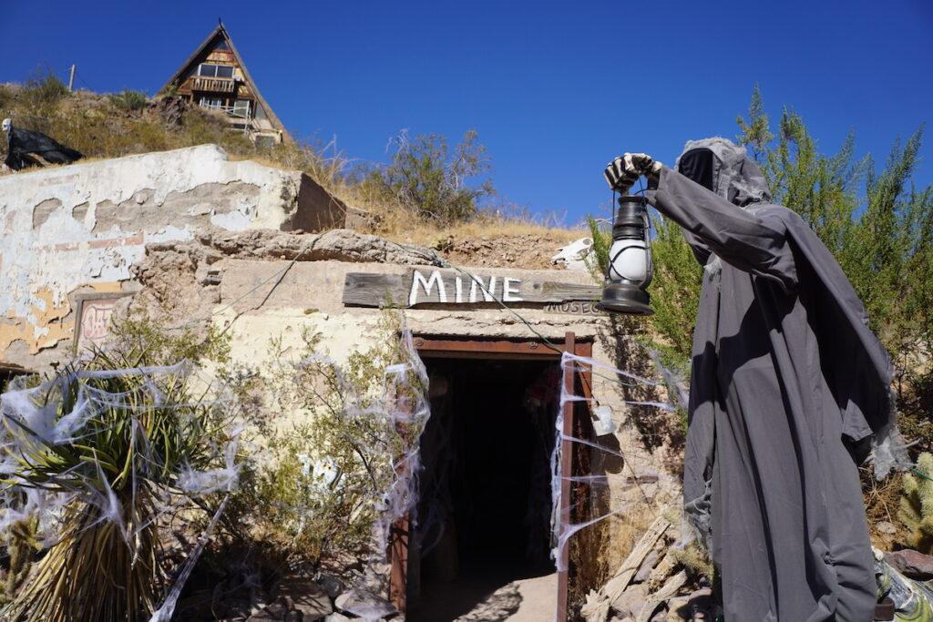 Halloween decorations at a mine in Oatman, Arizona.