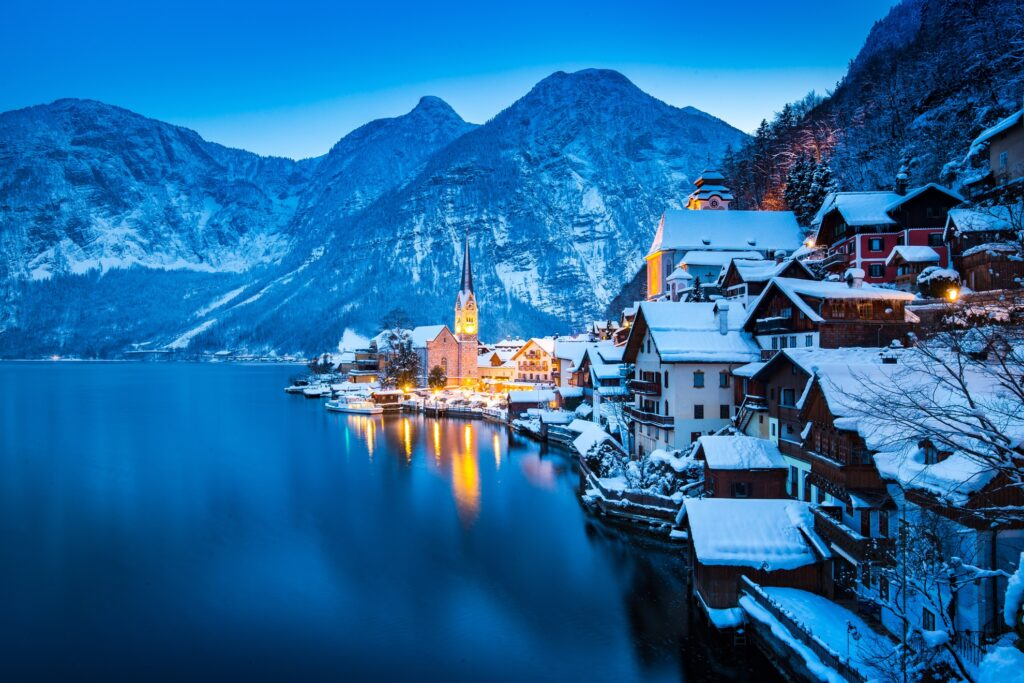Hallstatt, Austria, during the winter time.