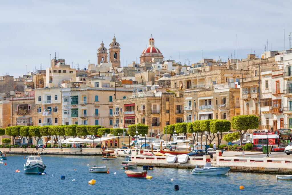 Harbor views of Valetta, Malta.