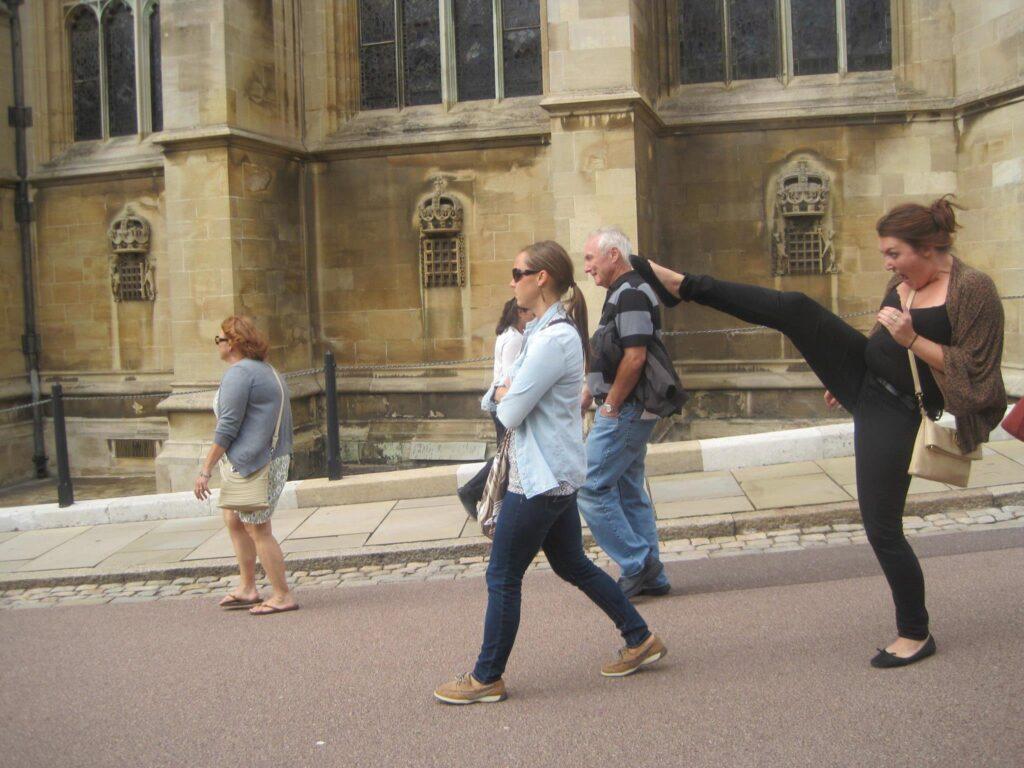 Having fun at Windsor Castle.