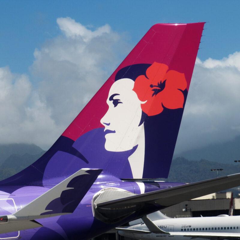 Hawaiian Airlines airplane tail.