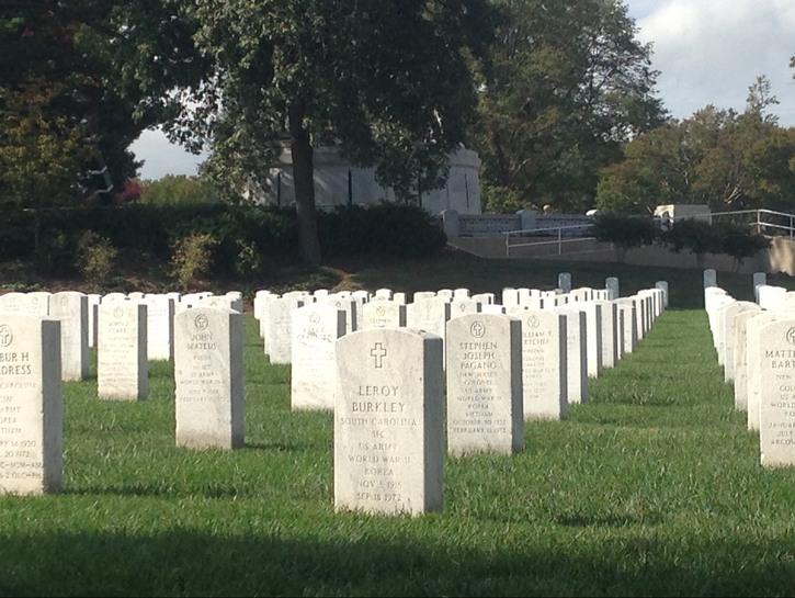 Headstones at Arlington National Cemetery.