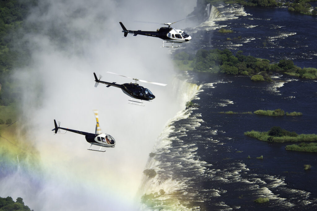 Helicopter rides over Victoria Falls.