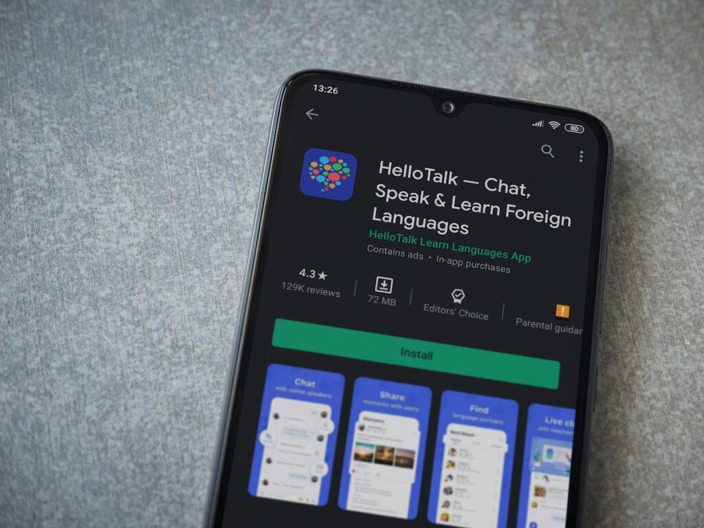 HelloTalk app on smartphone.