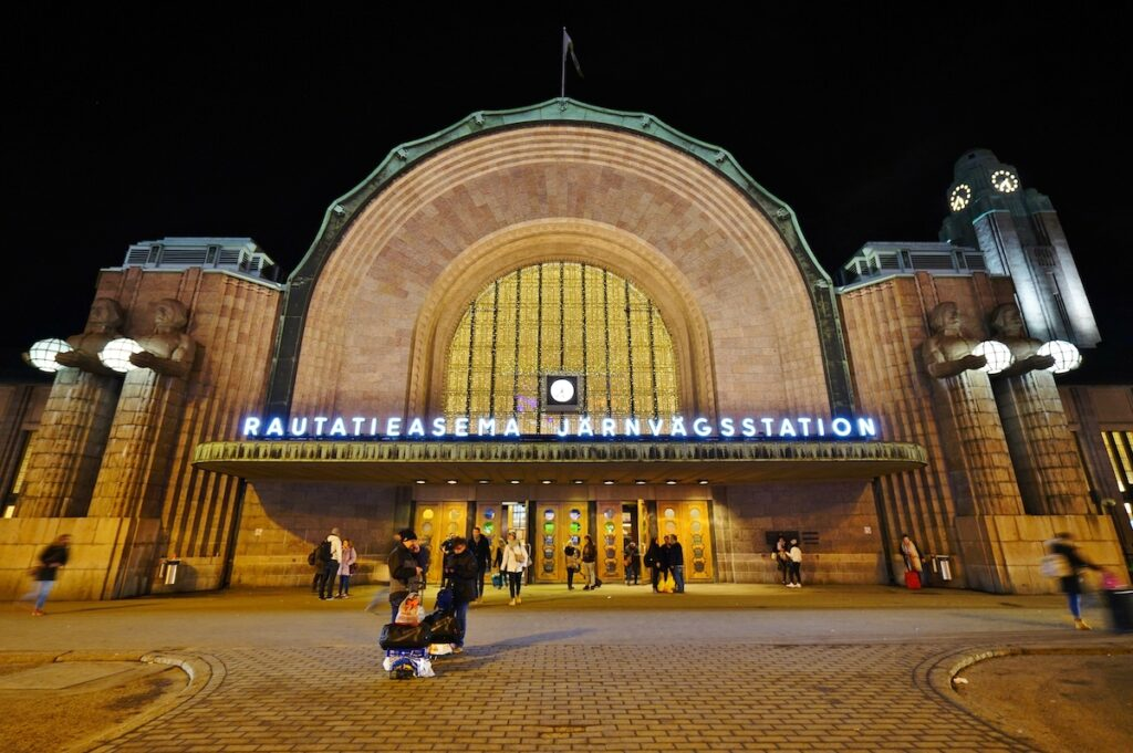 Helsinki Central at night.