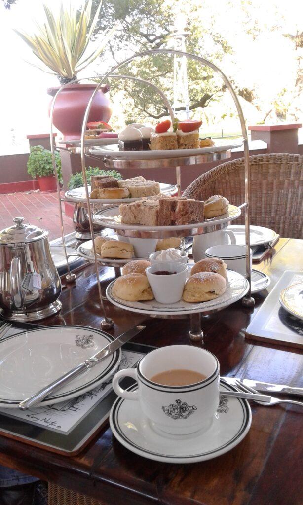 High tea at the Victoria Falls Hotel.