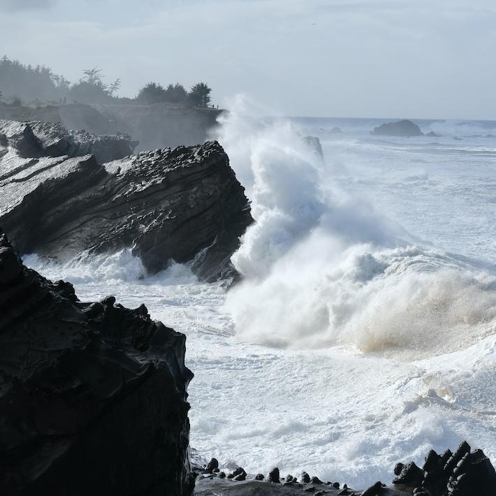 High tides off the coast of Oregon.