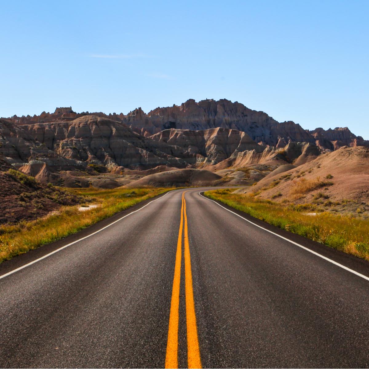 Highway through the badlands.