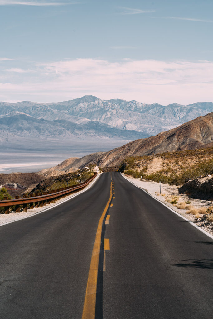 highway view driving through Colorado mountains