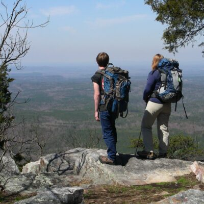 Hikers enjoying the view from the Pinhoti Trail in Alabama.