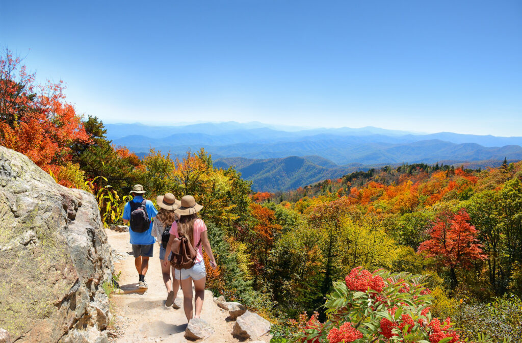Hikers in the Blue Ridge Mountains in Asheville, North Carolina.