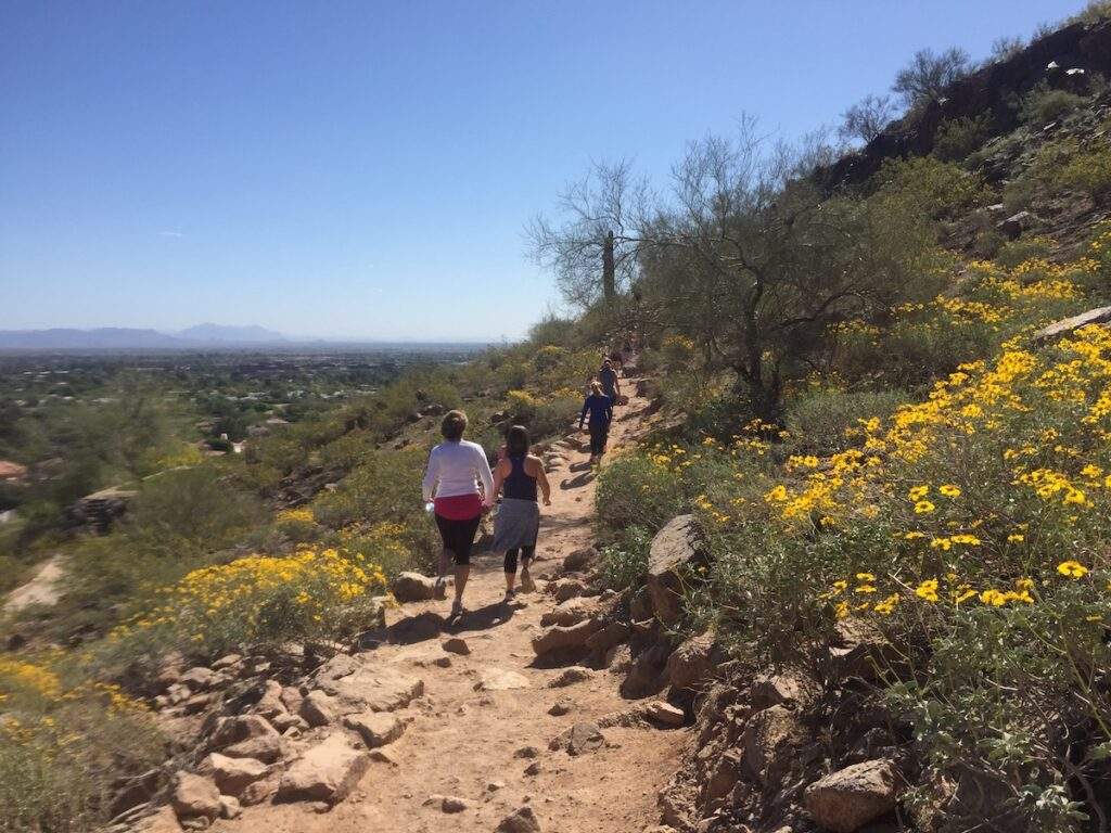 Hikers on Camelback Mountain in Arizona.