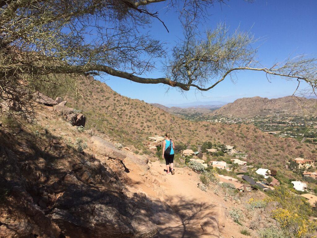 Hiking on Camelback Mountain in Arizona.