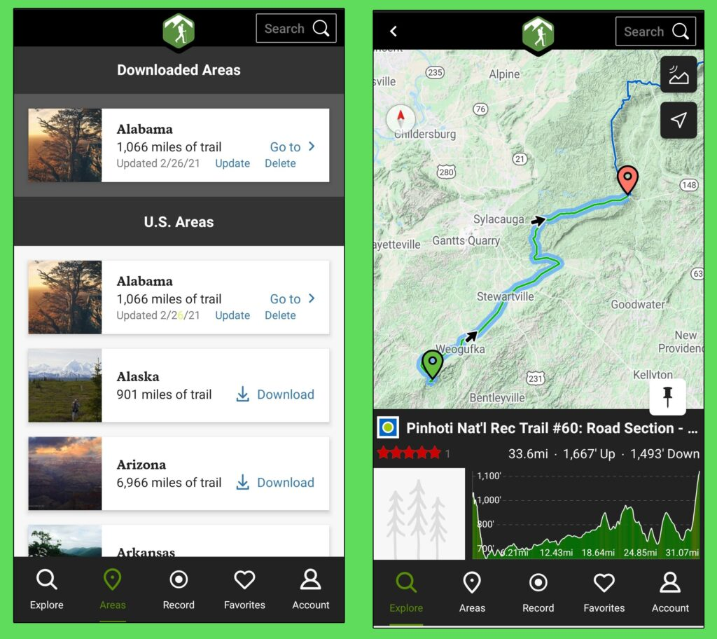 Hiking Project app.